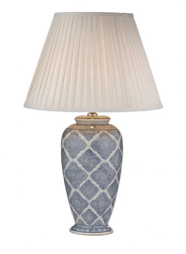 Dar Ely Table Lamp Blue/White Base Only ELY4223 (Class 2 Double Insulated)